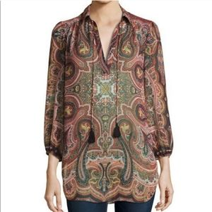 Alice & Olivia red Paisley sheer Sterling tunic